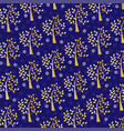 gold glitter tree and snowflake pattern on blue vector image vector image