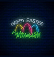 happy easter glowing signboard with colored eggs vector image