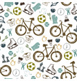 hipster sport bicycle seamless pattern vector image vector image