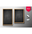 isolated vertical menu boards with chalk pieces vector image