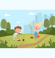kids planting background natural eco outdoor vector image vector image