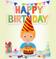 Little boy blowing birthday candle vector image vector image