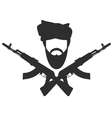 Man in turban two crossed AK-47 terroristm symbol vector image vector image