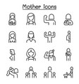 mother and woman icon set in thin line style vector image