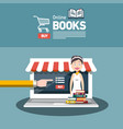 Online book store flat design with books and