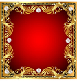 red background with pearls gold ornaments vector image vector image