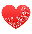 red heart with white floral ornament valentine vector image