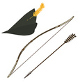 Robin hood hat bow and arrow vector image