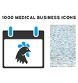 Rooster Head Calendar Day Icon With 1000 Medical vector image vector image
