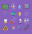 science lab icon set for education concept vector image