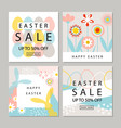 set cards easter sale backgrounds with hand vector image