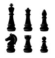 set chess figures in engraving style design vector image