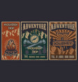 set color vintage posters on theme vector image