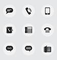 Set of 9 editable phone icons includes symbols