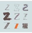 set of colorful alphabet letters Z vector image vector image