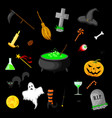 set of halloween objects isolated on black vector image vector image