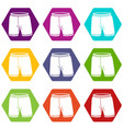 shorts icons set 9 vector image