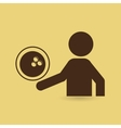 silhouette man point bowling ball vector image