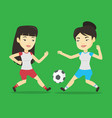 two female soccer players fighting for ball vector image vector image