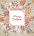 Vintage elegant greeting card with graphic flowers vector image vector image