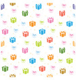 white seamless pattern with color gifts vector image vector image
