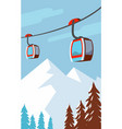 winter mountains cable car ski lift vector image