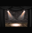 wooden stage with black curtains vector image vector image
