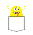 yellow monster silhouette in pocket holding vector image vector image
