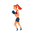 young pretty boxer woman girl in boxing gloves vector image vector image