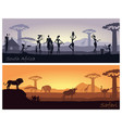 african landscape with people and animals vector image vector image