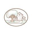american barn oak tree mono line oval vector image vector image