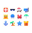 beach holiday - set of flat design style icons vector image