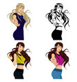 beautiful girl in sportswearset of four vector image vector image