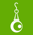 beauty pearl pendant icon green vector image
