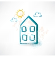 Blue cartoon two-storied house Brush icon vector image vector image