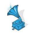 blue vintage gramophone vector image
