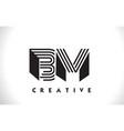 bm logo letter with black lines design line letter vector image vector image