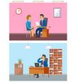 boss in office interviewing new woman worker job