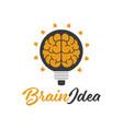 brain idea lamp design logo template vector image vector image