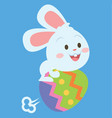 bunny flying with egg style easter theme vector image vector image