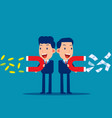 business people use a magnet to attract money vector image vector image