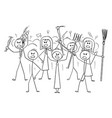 cartoon angry mob stick characters with tools vector image vector image