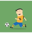 Cartoon football player running with the ball vector image