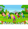 cartoon little kids exercising in park vector image vector image