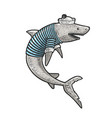 cartoon shark sailor sketch vector image vector image