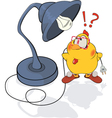 Chicken and a desk lamp cartoon vector image