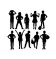 children kids silhouette set vector image