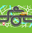 city map with school bus on road and destination vector image vector image