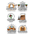 coffee cups and beans icons vector image