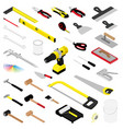 collection diy hand tools isolated on white vector image vector image